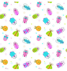 seamless pattern with funny colorful comic bugs vector image