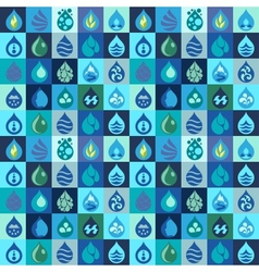 Seamless pattern with water icons in flat design vector image