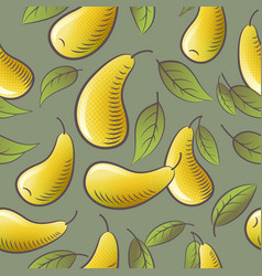 seamless pattern yellow pears leaves packaging vector image