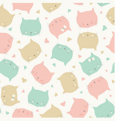 Seamless repeat pattern sweet cat faces in vector