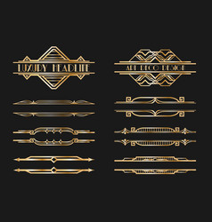 Set art deco page headers patterns ornaments vector