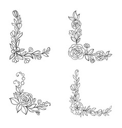 set black and white hand drawn corner floral vector image
