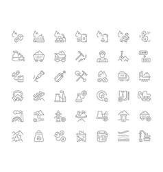 Set line icons coal mining vector