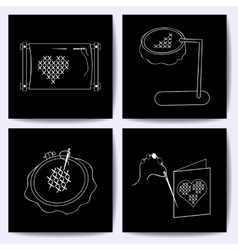 Set of cards with embroidery tools The white line vector