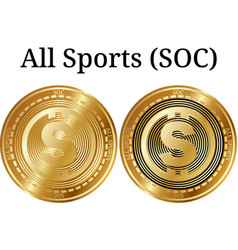 Set of physical golden coin all sports soc vector