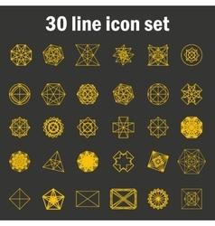 Set of thirty angular abstract icons vector