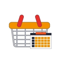 shopping basket and calendar icon vector image