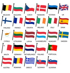 Simple color curved flags all european union vector