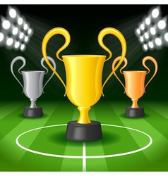 Soccer Background with Three Award Trophy vector