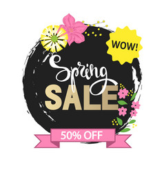 Spring sale with beautiful hand drawn flowers vector