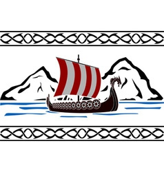stencil of viking ship vector image