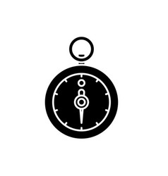 stopwatch black icon sign on isolated vector image