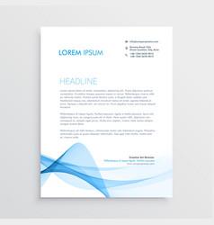 stylish blue letterhead design vector