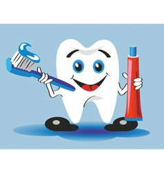 tooth toothbrush and toothpaste vector image