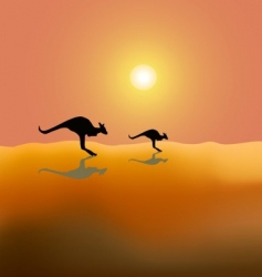 two running kangaroos vector image vector image
