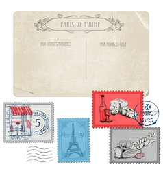 Vintage Paris and France vector image