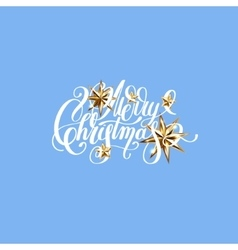 Winter design with golden stars and handwritten vector