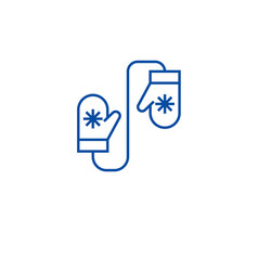 wool mittens line icon concept wool mittens flat vector image