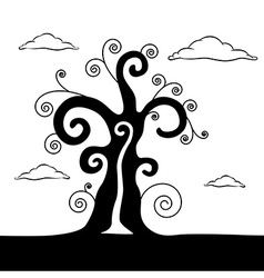 Abstract Black Tree With Clouds vector image vector image