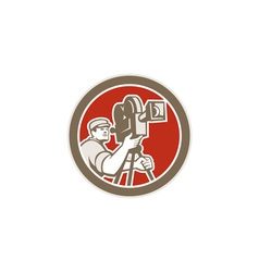 Cameraman vintage movie camera retro vector