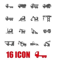 grey construction transport icon set vector image vector image
