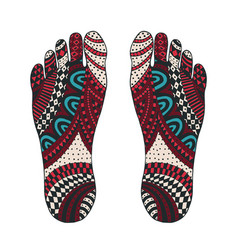 imprint of the feet tangle pattern vector image