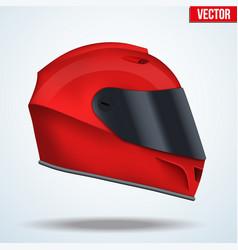 red motor racing helmet with glass visor vector image