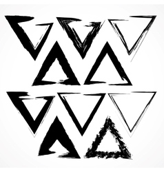 set of grunge triangle brush strokes vector image vector image