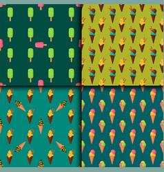 sweet cartoon cold ice cream seamless pattern vector image