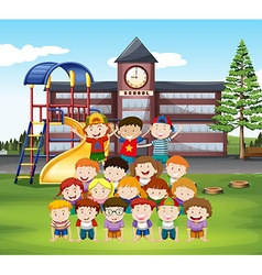 Kids doing human pyramid at school vector image vector image