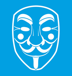 vendetta mask icon white vector image