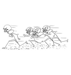 cartoon of american football player running with vector image