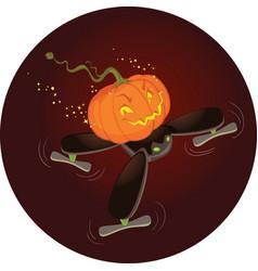 cute halloween pumpkin flying on a drone vector image vector image