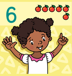 Girl showing six by hand counting education card 6 vector