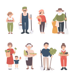 set of village people different young adult old vector image