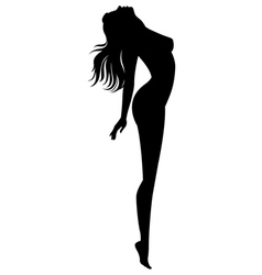 Silhouette of naked girl in profile vector image