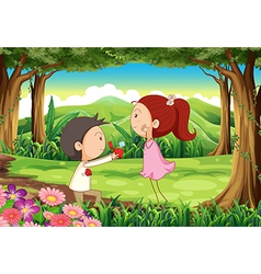 A marriage proposal at the forest vector image