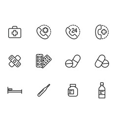 first aid set icons on white background vector image