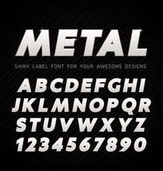Metal Font on carbon background vector image vector image