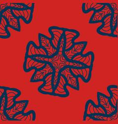 set of blue on red mandalas seamlessdecorative vector image
