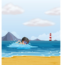 A boy swimming in the sea near the lighthouse vector