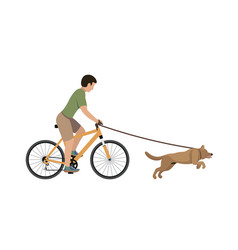 a man on a bike walking with a dog vector image