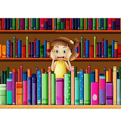 A scared little girl in the library vector