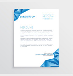 Abstract blue triangle style letterhead design vector