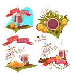 Banner set with ribbons for Festa Junina Brazil vector image