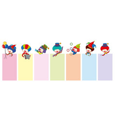 banner templates with happy clowns and tools vector image vector image