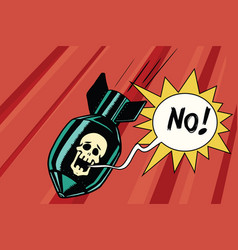 bomb with skull of the skeleton scream vector image