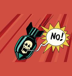 bomb with skull skeleton scream no vector image