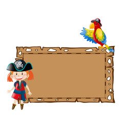 Border template with girl pirate and bird vector