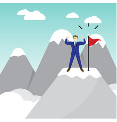 businessman standing on pinnacle of the mountain vector image